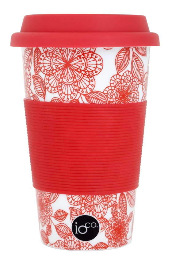 red audrey floral love... ioco coffee and tea traveller... mix and match... ceramic cup to be stylish on the go    shop now www.ioco.com.au