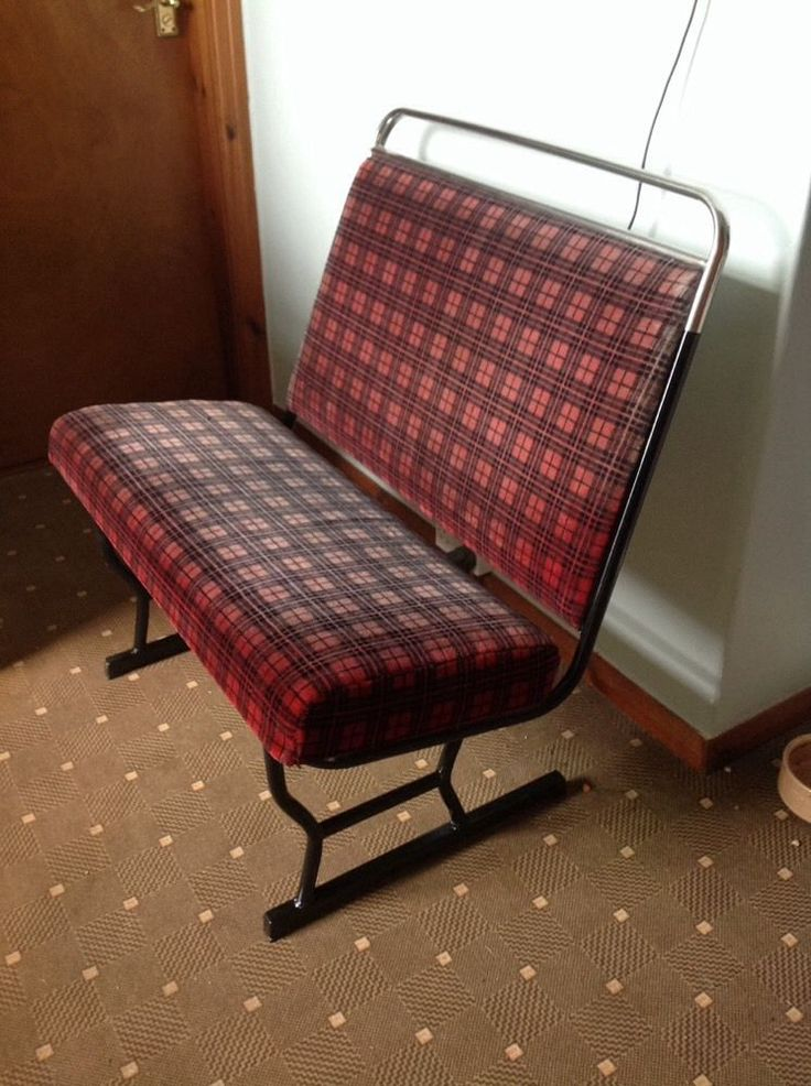 Vintage Bus Seat Converted Retro Mancave Rough Lux Chair Tartan 1960s Diner
