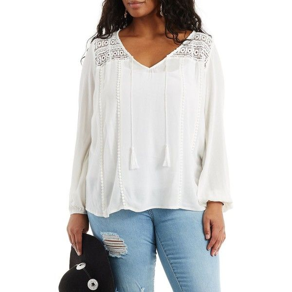 Charlotte Russe Gauzy Crochet Yoke Top ($27) ❤ liked on Polyvore featuring plus size fashion, plus size clothing, plus size tops, plus size blouses, white, plus size peasant blouse, sheer white blouse, plus size sheer blouse and plus size peasant tops