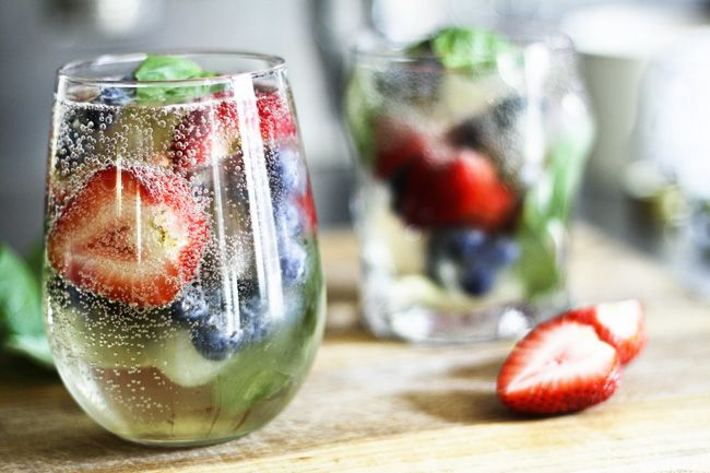 Mixed Berry and Basil Sangria-By-The-Glass (and mocktail variation) | Make Ahead Mondays