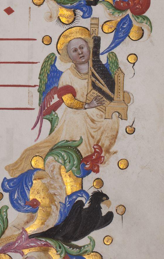 Angelo musicante. Dettaglio di un foglio di graduale miniato da Cristoforo Cortese, 1410-1420 ca. Sam Fogg Gallery, Londra