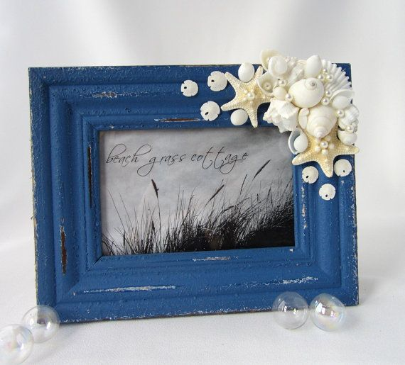 Beach Decor Seashell Frame - Nautical Antiqued 4x6 Frame w Shells, Starfish - Ocean Blue