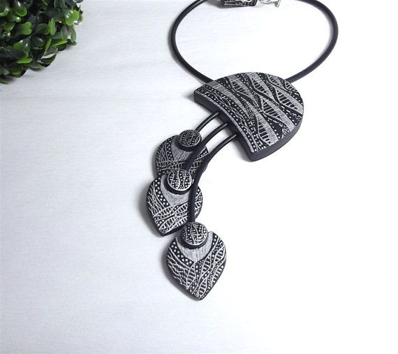 charm necklace from polymer clay with zentangle  hand by Taptamba