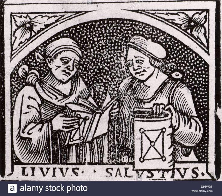 Sallust (Gaius Sallustrius Crispus) (16-34 BC) right, Roman historian and politician, and Livy (Titus Livius) (59 BC-19 AD) Stock Photo