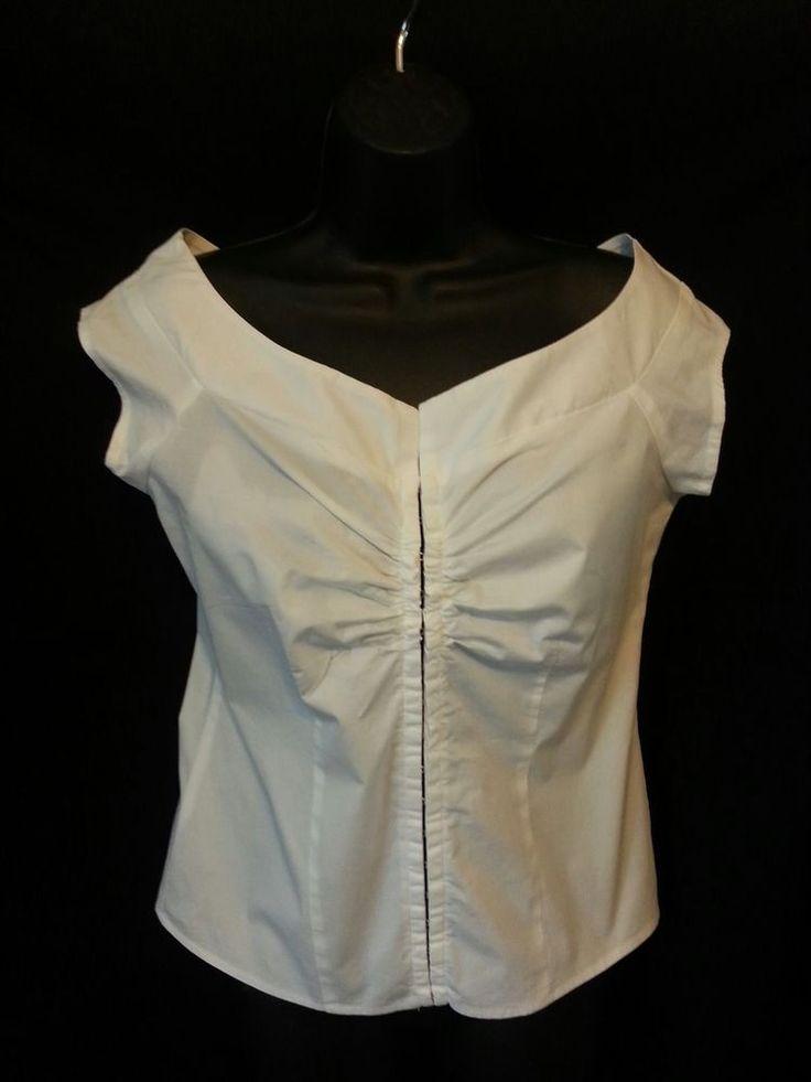 Charlotte Russe, white, cotton blend, eye hook closure blouse, L, cap sleeve #CharlotteRusse #Blouse #Career