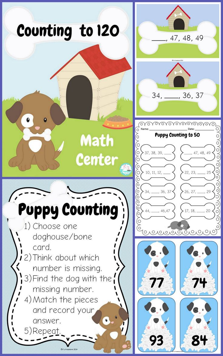 Practice counting to 50 or 120 with this adorable puppy themed math center. Perfect for Kindergarten or 1st Grade. ($)