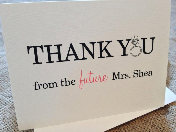 Custom Thank You Cards with Envelopes - Chic, Wedding, From the Future Mrs. in Cream/Natural - Set of 10. $14.50, via Etsy.