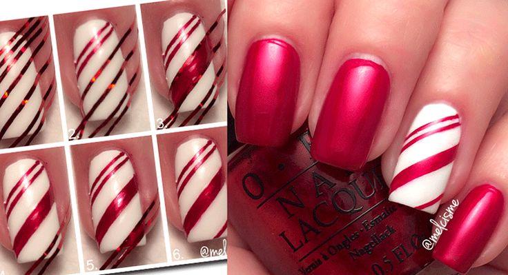 Sweet Candy Cane Σχέδια Νυχιών - Χριστούγεννα 2015 | Woman Oclock
