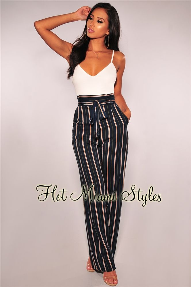 031d35044c7 White Navy Striped Paperbag Belted Jumpsuit in 2019 | Clothes ...
