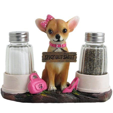 Pretty in Pink Girl Chihuahua Glass Salt and Pepper Shaker Set with Holder Figurine in Dog Statues ; Sculptures and Decorative Southwestern Kitchen Decor Gifts by Home-n-Gifts, Multicolor