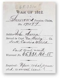 FREE TO THE PUBLIC - War of 1812 Pension Records