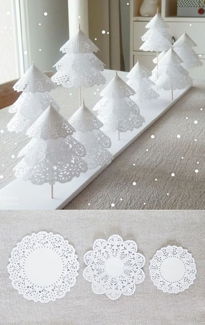 paper doily Christmas trees - easy DIY tutorial for holiday decor