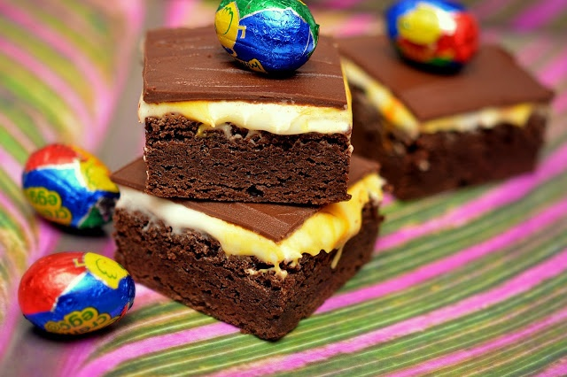 BROWNIES TOPPED WITH HOMEMADE CADBURY CREME FILLING