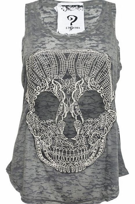 Lace Skull Burnout Vest 202-863 The Lace Skull Burnout Vest is made from light grey burnout cotton. On the front of this tank is a crochet lace candy skull applique. http://www.comparestoreprices.co.uk/fashion-clothing/lace-skull-burnout-vest-202-863.asp