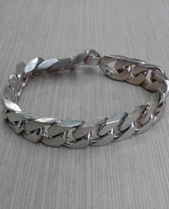 Bracelet Curb Massive Sterling Silver 925.Handmade.Fits all.