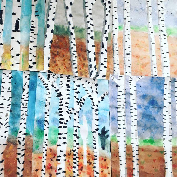 Fineste birketræer i efteråret. Skabt af 4.b på Urban P.  Fremgangsmåden findes her: http://www.frubilledkunst.dk/efterarstraeer/  Birch trees - autumn - fall