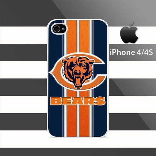 Chicago Bears texture Stripes iphone 4 4s Rubber Case Cover