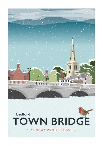 Bedford Town Bridge (Winter Scene) - Giclee print by Tabitha Mary UK #TABITHAMARY #Bedford #winter