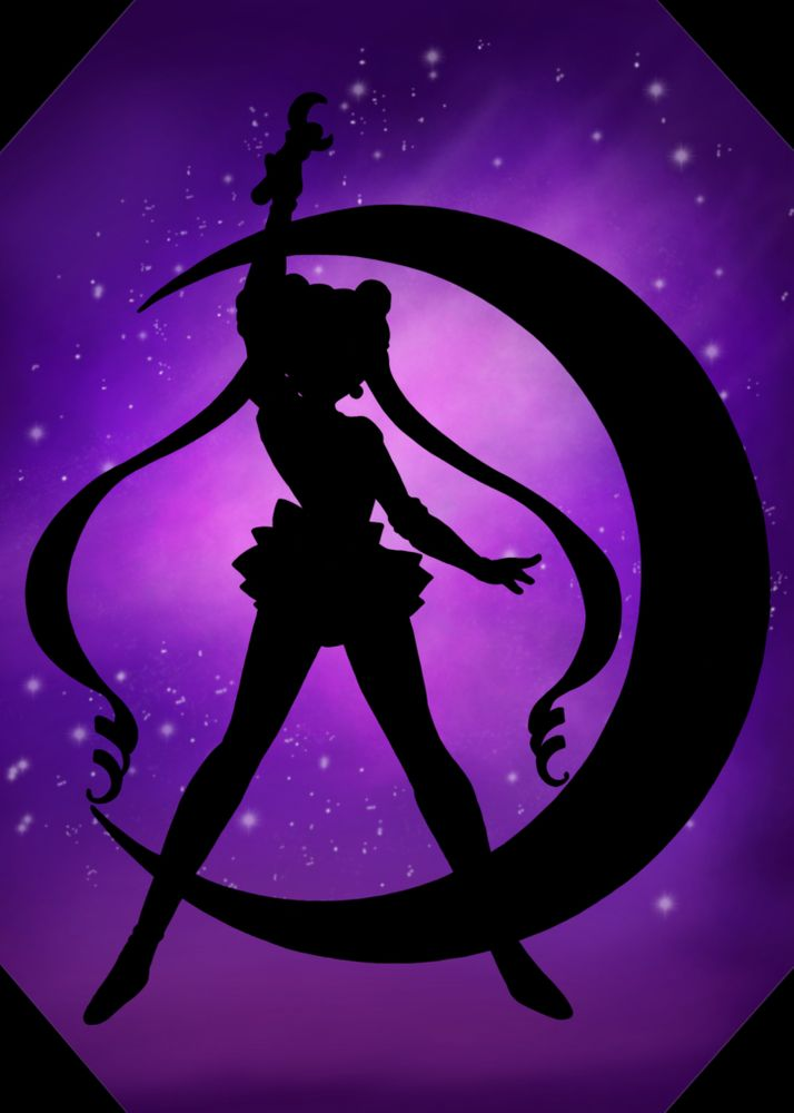 Sailor Moon Galaxy Silhouette Art Print By Sabinks X Small Sailor Moon Wallpaper Sailor Moon Art Moon Painting Canvas