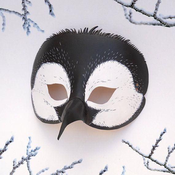 Penguin Leather Mask Black White Bird Animal Penguins by LMEmasks