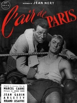 "Jean Gabin and Roland Lesaffre in Marcel Carne's ""L'Air de Paris,"" one of the great boxing movies, 1954. [pr]"