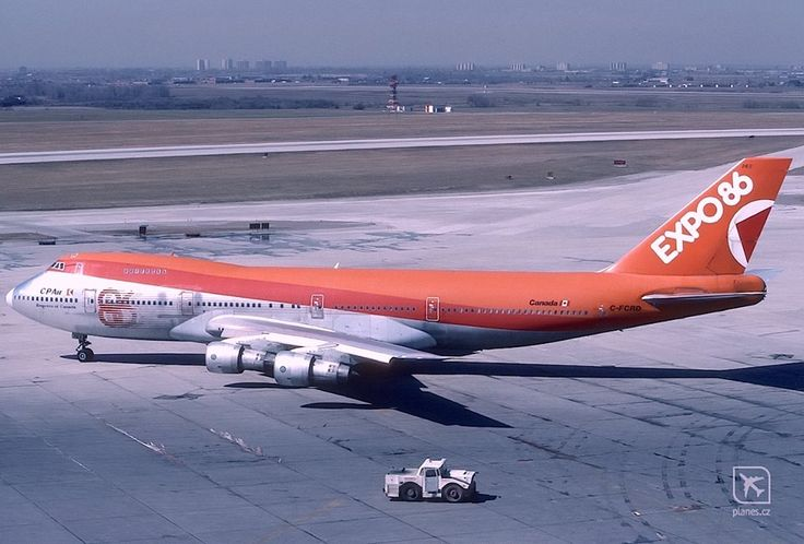 """CP Air Boeing 747-217B C-FCRD """"Empress of Canada"""" at Toronto-Pearson, October 1986. C-FCRD is wearing a special livery promoting Expo '86, the World's Fair being held that year in Vancouver. (Photo: Petr Popelar, Copyright: Braniff Flying Colors Collection)"""