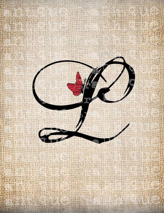 monogram letter l | Antique Letter L Script Monogram with Butterfly Digital Download for ...