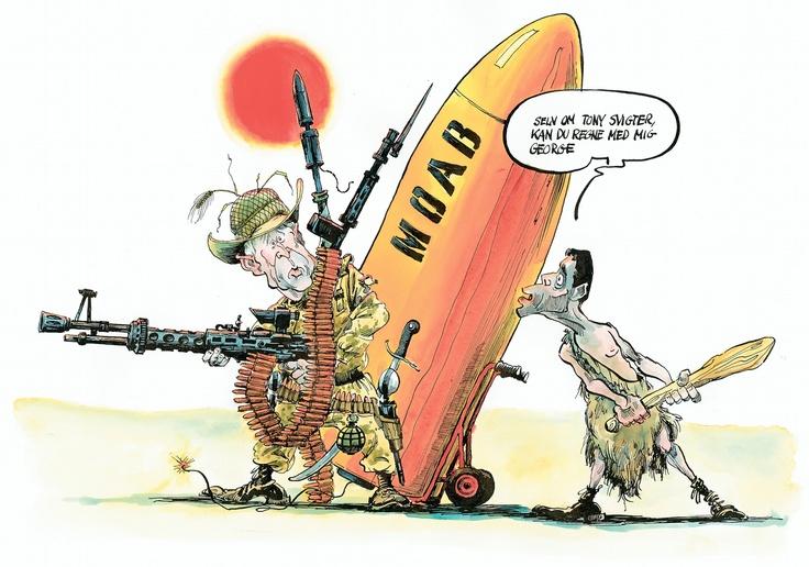 Danmark er gået i krig i Irak - Politiken 16. marts 2003 Tegning: Roald Als