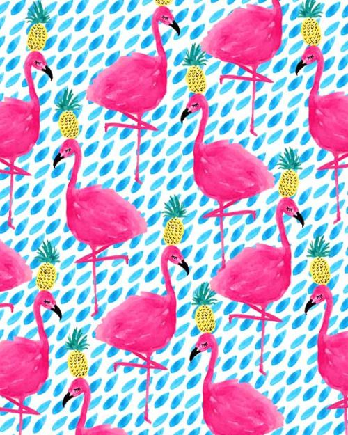 flamingos + pineapples