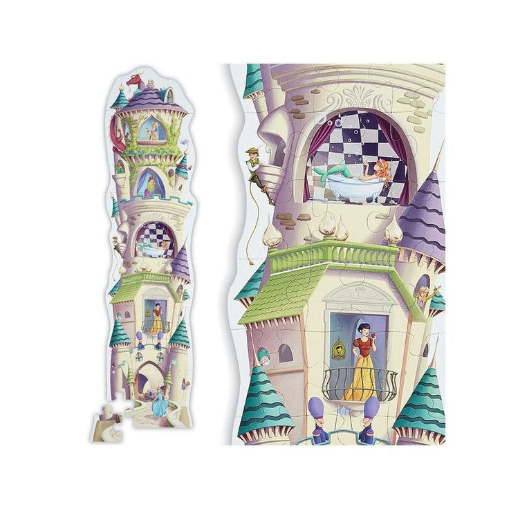 """Step into a fairytale with the 4' tall, 36-piece Princess Castle Tower Floor Puzzle! Rugged, jumbo pieces are perfect for little fingers to grasp. Puzzles are great for teaching problem solving skills and fine motor coordination while having fun. This high-quality puzzle comes in a heavy-duty, contour-shaped gift box for safety and storage. Puzzle is 20""""W x 27""""L. Ages 4+. #CrocodileCreek #CamelotKids #Tallpuzzle"""