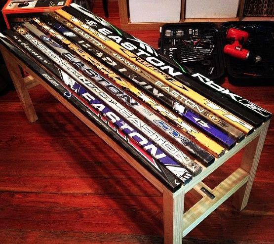 hockey stick bench....so cool