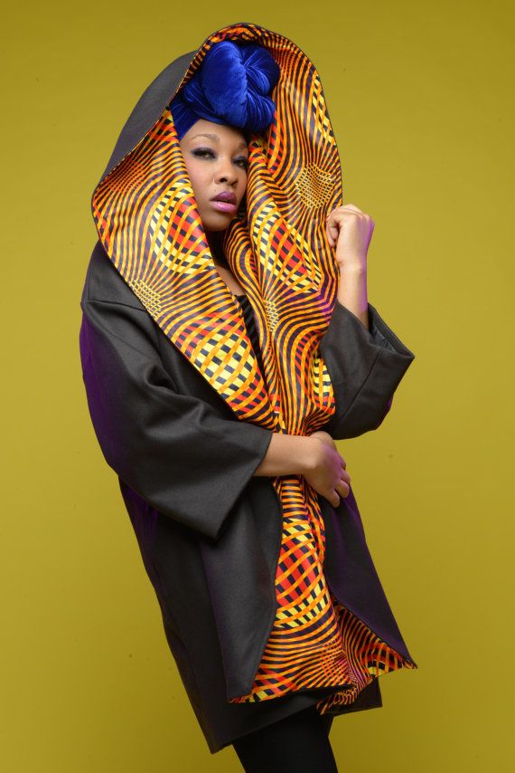 SUNSPLASH African print coat on NAVY wool by Gitas by GitasPortal