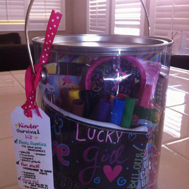 Kindergarten survival kit for preschool graduation. I like mine better but must remember this for future too