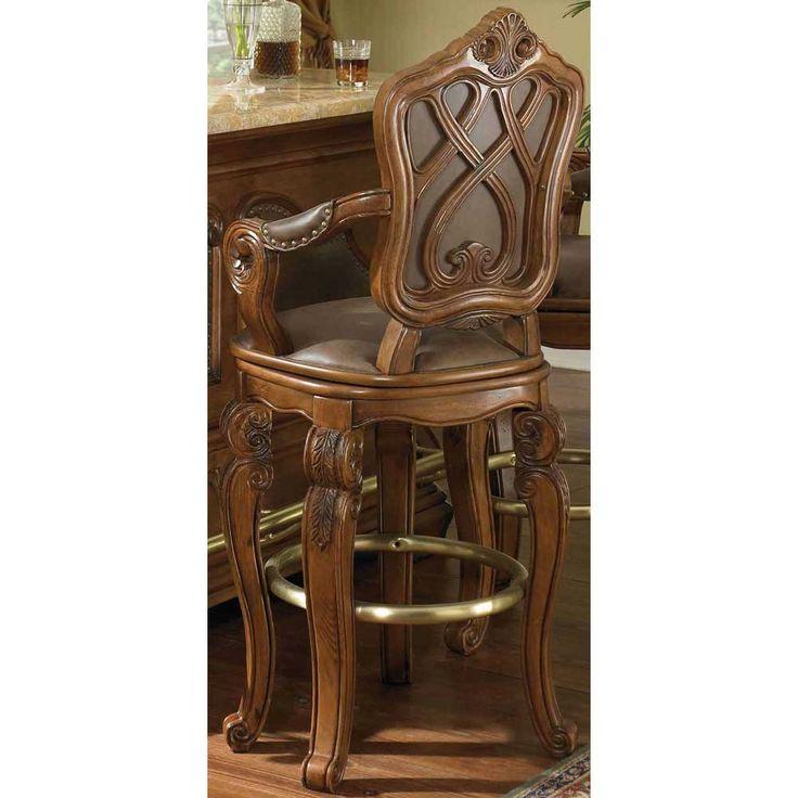 AICO Lavelle Melange Wood Trim Tufted Sofa by Michael Amini Customer Return on Clearance Swivel Bar StoolsCounter