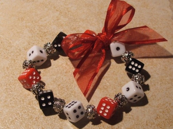 acrylic dice bunco themed stretch bracelet in red  black