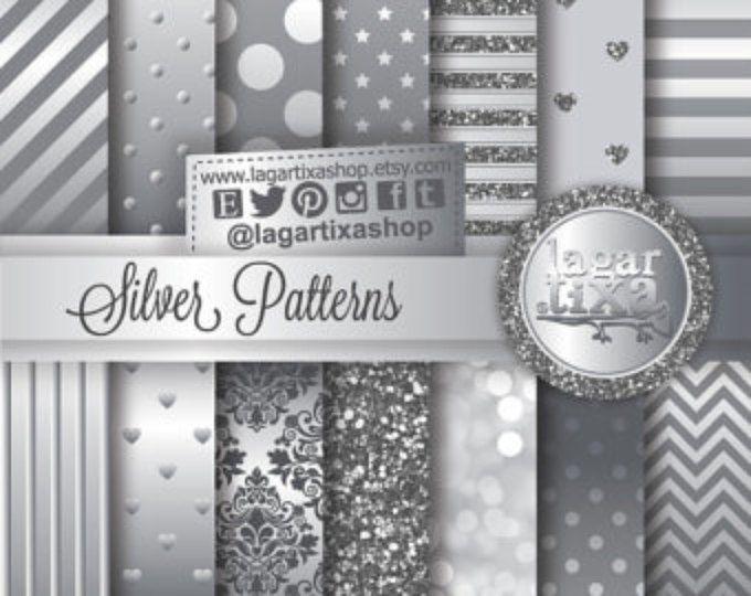 Silver Digital Paper Background Chevron Polka dots Bokeh Damask stripes Glitter metal patterns Scrapbook Blog invitations thank you cards