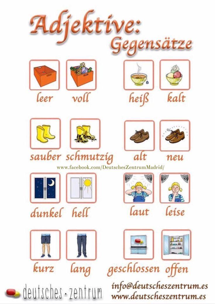 Adjektive Deutsch Wortschatz Grammatik German DAF Alemán Vocabulario