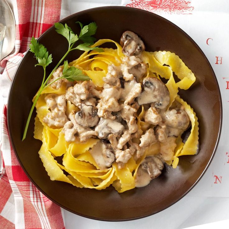 Chicken Portobello Stroganoff Recipe -Stroganov used to be a dish of sauteed beef with sour cream in 19th century Russia. This modern chicken and portobello version is the result of having opened the fridge for dinner one night to find nothing much but necessity, the mother of invention. —Katie Rose, Pewaukee, Wisconsin