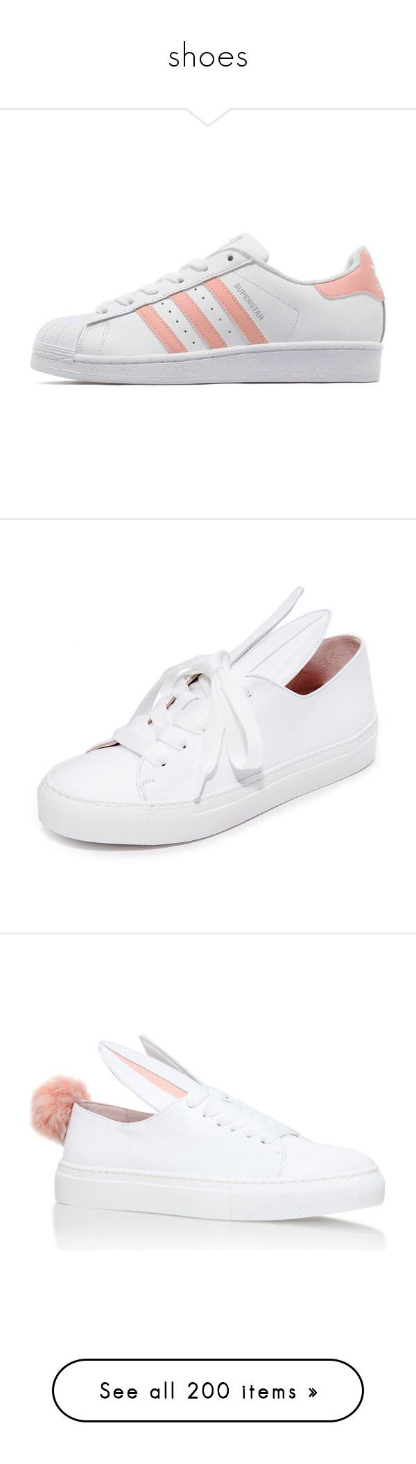 """""""shoes"""" by monbbeatrice ❤ liked on Polyvore featuring shoes, sneakers, adidas, tenis, rubber sneakers, rubber shoes, chunky sneakers, stripe shoes, pink shoes and all white"""