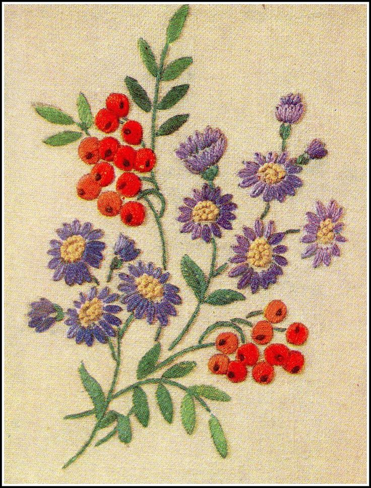 """Seasonal sprays"", Michaelmas Daisies and Rowan Berries. From ""Needlewoman & Needlecraft"", January 20th 1951, issue No. 45."