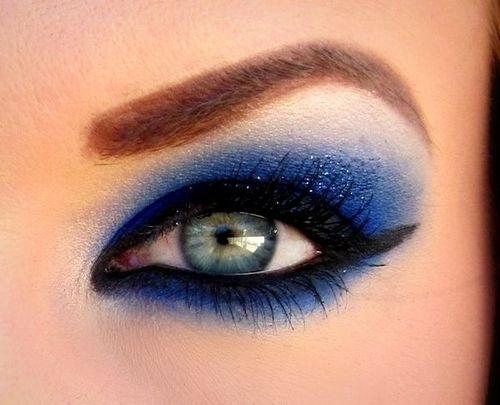 sexy, makeup, girl, face, blue, eyes, close-up