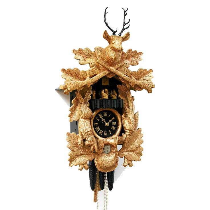 kuckucksuhr goldenes jagdst ck design art hersteller rombach und haas gewicht. Black Bedroom Furniture Sets. Home Design Ideas