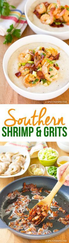 Southern Shrimp and Grits Recipe - A simple southern recipe with huge wow-factor! Creamy cheese grits smothered in shrimp and bacon. via @spicyperspectiv