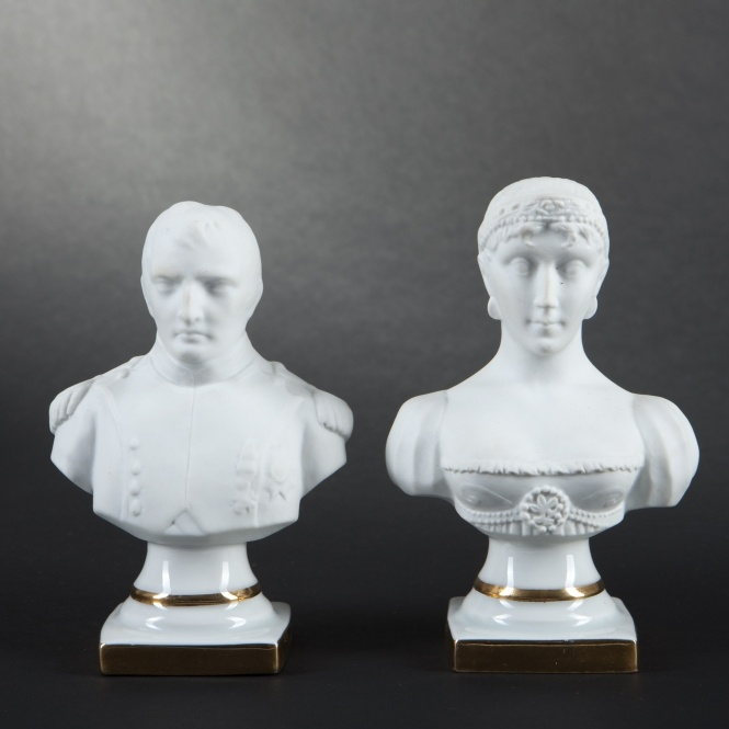 LIMOGES. Two biscuit porcelain busts of Josephine and ...