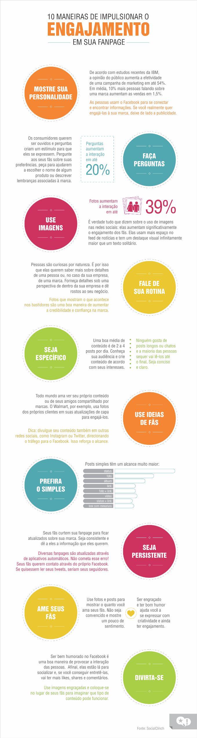 Conheça 10 dicas para aumentar o engajamento de sua Fanpage no Facebook, infográfico criado pelo pessoal da agência Fabulosa Ideia, confira!