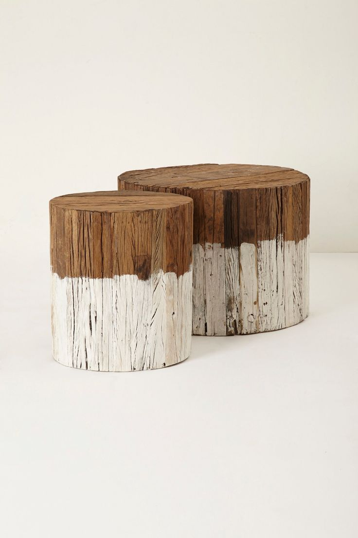 - Reclaimed Wood Side Table Stump Table, Large And Logs