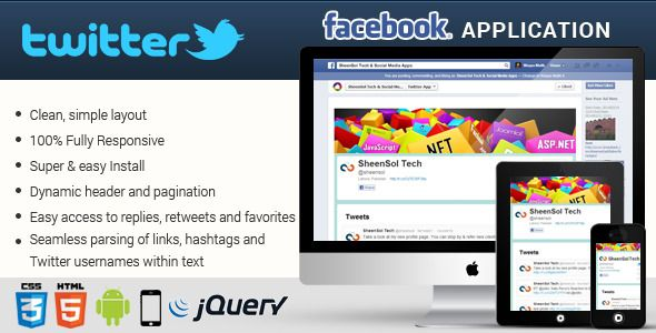 Facebook Twitter Responsive Application . Facebook Twitter Responsive Application