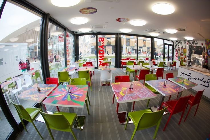 The Warhol inspired restaurant in the interior of the Slovak pavilion at the EXPO Milano 2015.
