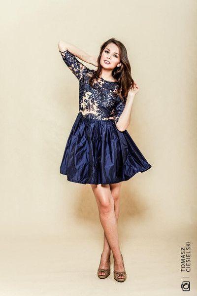 Sukienka z koronki granatowa - gabrielahezner - Suknie wieczorowe