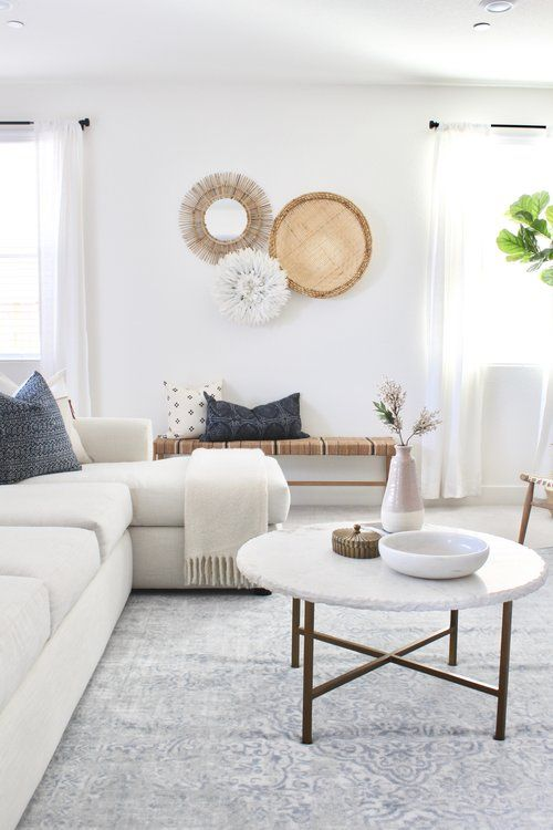 I love the neutral textiles with the touches of bl…